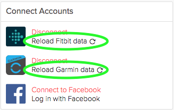 What should I do if my Fitbit or Garmin data does not appear to be